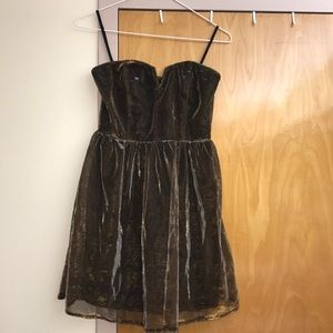 Gold and black mesh dress strapless